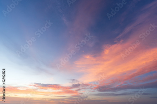 Beautiful dramatic and colorful sky at sunset over the mountains - fototapety na wymiar