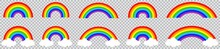 Rainbow Icon Set, Colorful Rainbows With Cloud, Vector Illustration