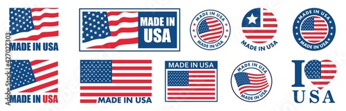 Fotografie, Tablou made in the usa labels set,  made in the usa logo, usa flag , american product emblem, Vector illustration