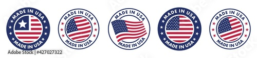 Fotografia made in the usa labels set,  made in the usa logo, usa flag , american product emblem, Vector illustration
