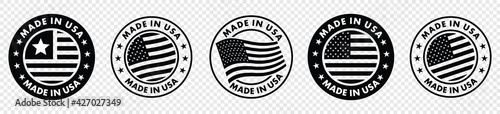 Photo set of made in the usa labels,  made in the usa logo, usa flag , american product emblem, Vector illustration
