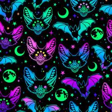 Seamless Pattern Of Multicolored Bright Bats