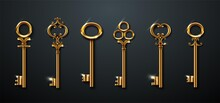 3d Realistic Vector Collection Of Golden Old Vintage Keys.