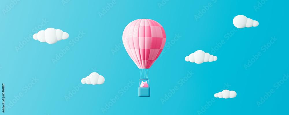 Fototapeta Piggy bank in hot air balloon on blue sky, Savings Protection Concept 3d render 3d illustration
