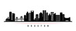 Houston skyline horizontal banner. Black and white silhouette of Houston, Texas. Vector template for your design.