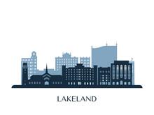 Lakeland Skyline, Monochrome Silhouette. Vector Illustration.