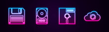 Set Line Floppy Disk, Hard Drive HDD, In The 5.25-inch And Cloud Sync Refresh. Glowing Neon Icon. Vector