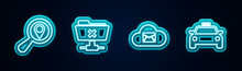 Set Line Search Location, FTP Cancel Operation, Cloud Mail Server And Taxi Car. Glowing Neon Icon. Vector