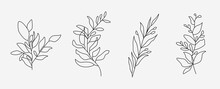 Set Of Flower Icons On White Background, Isolated. Collection Of Floral Signs For Luxury Minimalistic Boho Design. No Fill And Thin Outlines Plant Symbols, Garden And Greenery With Stem. Flower Vector