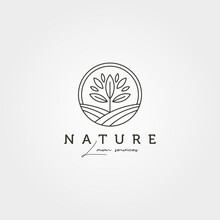 Garden Tree Landscape Logo Vector Symbol Illustration Design, Line Art Nature Logo Design
