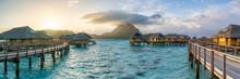 Sunrise Panorama At A Luxury Beach Resort On Bora Bora, French Polynesia