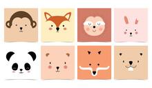 Set Of Cute Animals With Monkey,panda,rabbit,bear,sloth,squirrel And Fox.Vector Illustration For Baby Invitation, Kid Birthday Invitation And Postcard