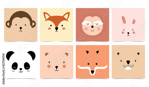 Naklejka premium Set of cute animals with monkey,panda,rabbit,bear,sloth,squirrel and fox.Vector illustration for baby invitation, kid birthday invitation and postcard