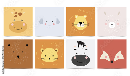 Naklejka premium Set of cute animals with elephant,giraffe,lion,bear,fox,llama.Vector illustration for baby invitation, kid birthday invitation and postcard