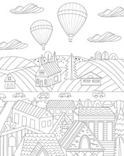Cute Town With Fields Beyond And Hot Air Balloons In The Sky For