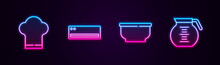 Set Line Chef Hat, Air Conditioner, Bowl And Coffee Pot. Glowing Neon Icon. Vector