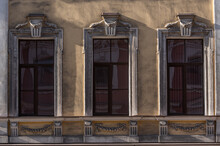 Windows On Old City Facades, With Decorative Elements