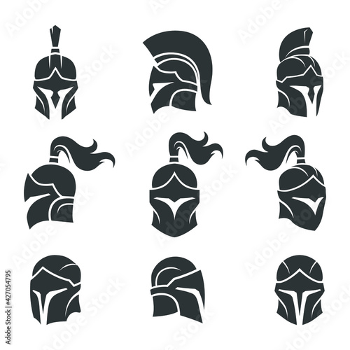 Fotografie, Obraz set of black spartan helmet vector images