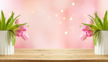 Happy Mother's Day Background With Beautiful Tulip Flowers  On Wooden Table