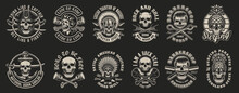 Set Of Vector Illustrations Of Skulls On The Themes: Biker, Pirate, Warrior, Barbershop, Rock Roll, Surfing. Perfect For Tshirt Design And Many Other Uses