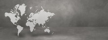 World Map On Concrete Wall Background. 3D Illustration. Horizontal Banner