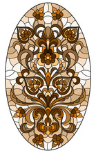 Illustration In Stained Glass Style, Round Mirror Image With Floral Ornaments And Swirls,brown Tone ,sepia, Oval Image