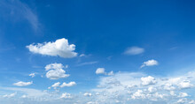 Blue Sky Background With White Clouds In Large, Small Chunks, And Has A Wide Area To Sleep On Messages Or Advertisements.