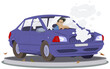 Male in car accident. Broken auto. Illustration for internet and mobile website.
