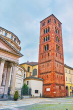 The Romanesque Bell Tower Of The Virgin Of The Consolation Church (Santuario Della Consolata), Turin, Italy