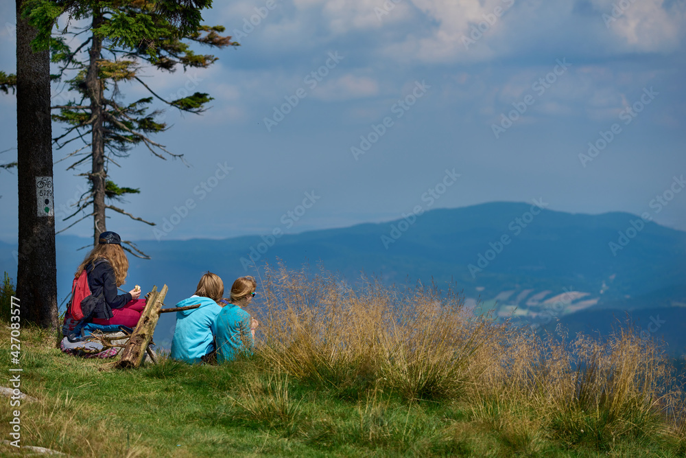 Rodzina i przyjaciele na letniej wyprawie w góry w ciepły, słoneczny dzień
