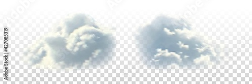 Fototapeta Vector set of realistic isolated cloud for template decoration and covering on the transparent background. Concept of storm and cloudscape. obraz