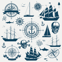 Set Of Nautical Design Objects, Sailing Ships, Yachts, Compasses