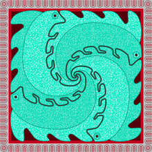 Four Turquoise Iguanas Walk Along The Sides Of An Ornamental Square. Decorative Composition.