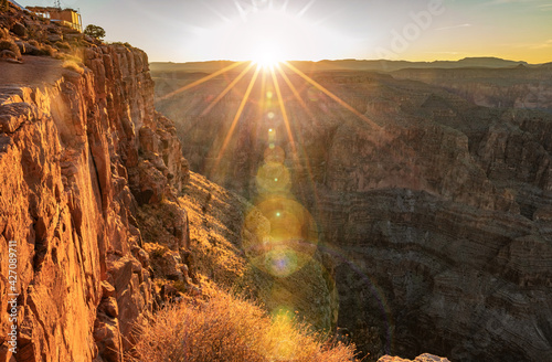 Canvastavla Beautiful landscapes of the Grand Canyon an amazing view of the sunset over the red-orange rocks that are millions of years old