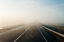 Fog On The Road In The Early Morning In Russia