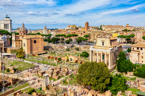 Fotografie, Obraz Panoramic cityscape view of the Roman Forum and Roman Altar of the Fatherland in Rome, Italy