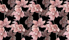 Watercolor Seamless Pattern With Orchid Flowers On Black Background For Textiles And Surface Design