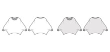 Sweater Batwing Sleeve Technical Fashion Illustration With Rib Oval Neck, Oversized, Hip Length, Knit Trim. Flat Garment Apparel Front, Back, White Grey Color Style. Women, Men Unisex CAD Mockup