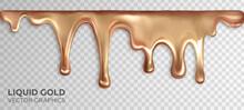 Liquid Gold, Dripping Drops Of Rose Gold. Realistic 3d Vector Design