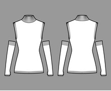 Sleeveless Sweater Technical Fashion Illustration With Gauntlets, Rib Turtleneck, Fitted Body, Hip Length, Knit Trim. Flat Apparel Front, Back, White Color Style. Women, Men Unisex CAD Mockup