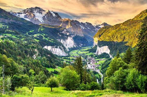 View of the Lauterbrunnen valley in Swiss Alps