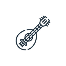 Mandolin Icon. Thin Linear Mandolin Outline Icon Isolated On White Background. Line Vector Mandolin Sign, Symbol For Web And Mobile.