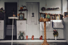 Religious, Orthodox, Old, Altar, Christian, Faith, Adjuration, Prayer, Invocation, Traditional, Greece, Island, Vintage, Candle, Mediterranean, Aegean, Worship, Closeup, Wood, Dead