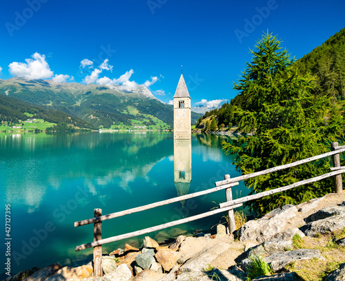 Cuadros en Lienzo Submerged Bell Tower of Curon on Lake Reschen in South Tyrol, Italy