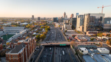 Aerial View Overtop Interstate-85 Northbound In Downtown Atlanta.