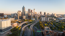 Aerial Landscape Shot Of The Scenic Downtown Atlanta, Georgia Skyline.