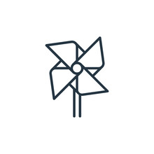 Pinwheel Icon. Thin Linear Pinwheel Outline Icon Isolated On White Background. Line Vector Pinwheel Sign, Symbol For Web And Mobile.