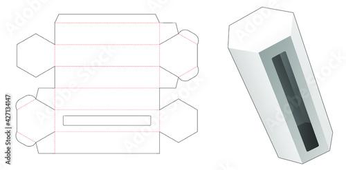 Obraz hexagonal packaging box with window die cut template - fototapety do salonu