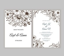 Modern Wedding Invitation With Beautiful Line Art Brown Flower