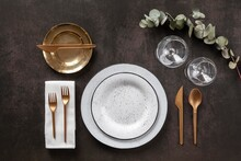 Plates, Cutlery And Glasses Above View